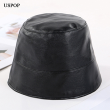 USPOP 2019 New fashion bucket hats solid color vintage hat women men PU flat top bell shape Unisex