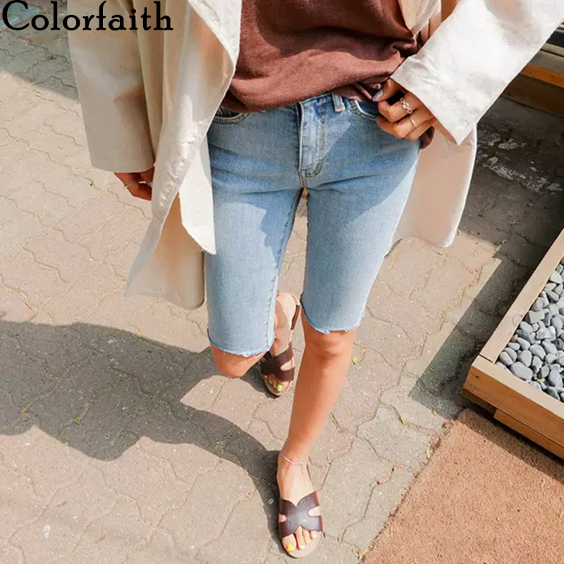 Colorfaith New 2020 Women Summer Jeans 3 Colors High Waist Casual Trousers Denim Streetwear Skinny Knee Length Pants J3438-8