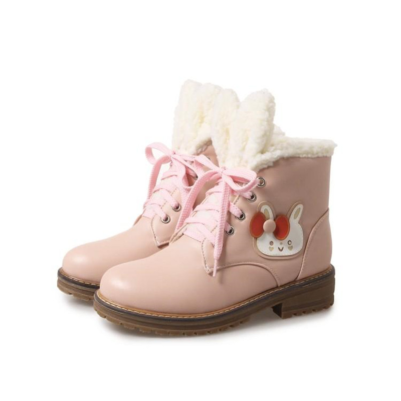Cute Rabbit Platform Short Boots Mori girl Lolita Princess Winter Lolita japanese Sweet Lolita Shoes