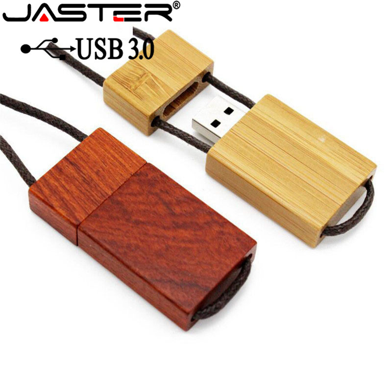 JASTER USB 3.0 Free Custom Logo Wooden With Rope Usb+gift Box Usb Flash Drive Memory Stick Pendrive 8GB 16GB 32GB 64GB Gift