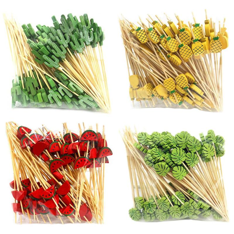 100 Pcs Disposable Bamboo picks Food Fruit Cocktail Handmade Toothpicks Picnic Party Supplies Decoration