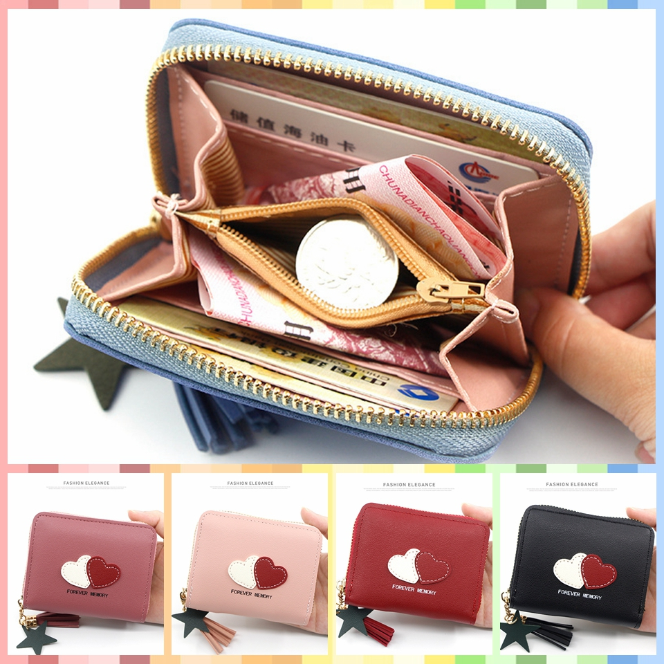 Hot Sale Wallets Bags Purse For Female Safe Women's Short Zipper Wallet Small Dark Card Package Double Heart Money Coin Wallet