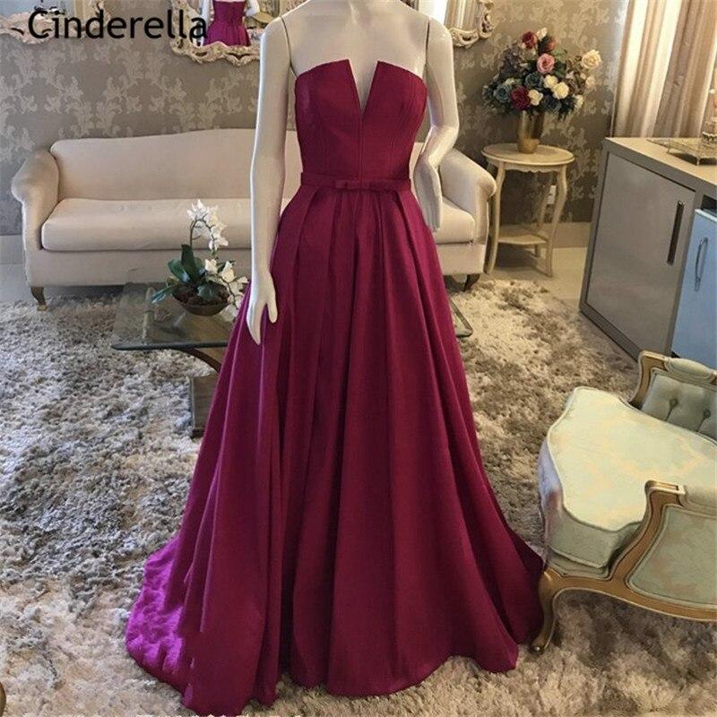 Fuchsia Strapless Sleeveless A-Line Floor Length Sweep Train Satin Pleated   Prom     Dresses   vestidos de fiesta de noche