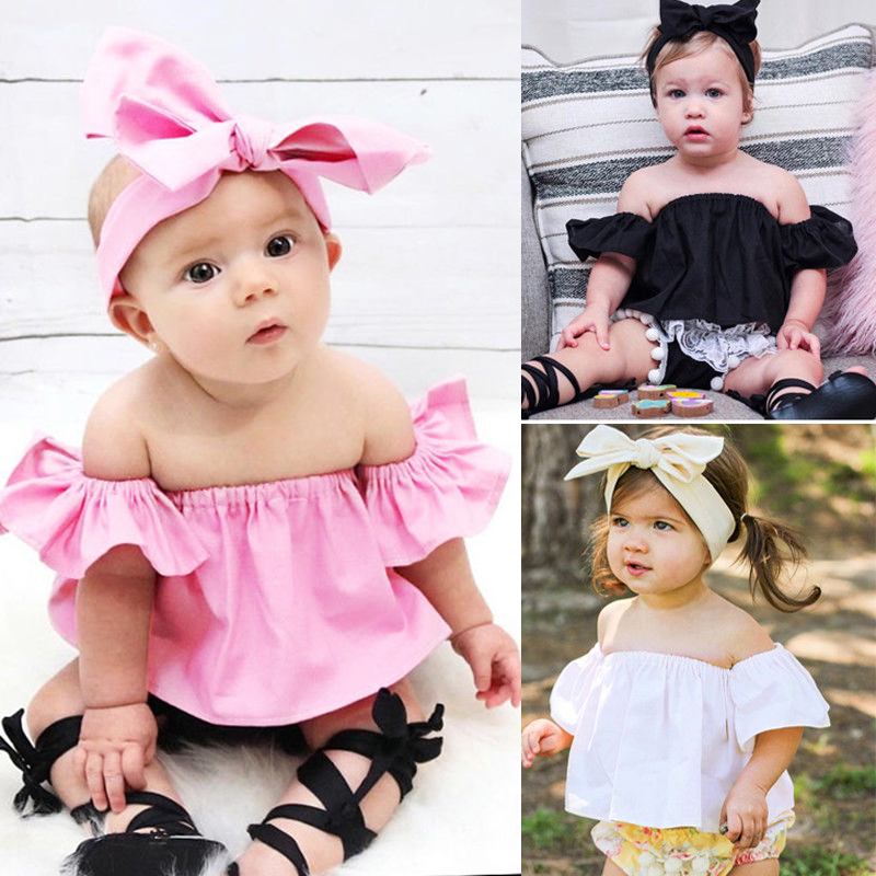 Newborn Cute Infant Clothing Tshirt Baby Girls Off Shoulder Crop Top Blouse Clothes Summer Tops
