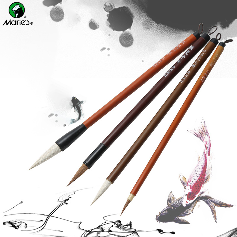 Marie's G1324 Traditional Chinese Writing Brushes 4pcs/set White Clouds Bamboo Wolf/Sheep Hair Writing Brush For Calligraphy