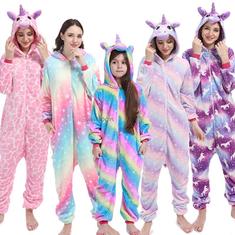 Kigurumi Unicorn Pajamas Children's Sleepwear For Boys Girls Kids Onesies Animal Overalls Stitch Panda Winter Warm Homewear