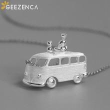 Original Design 925 Sterling Silver Bus On The Road Van Girl Kitten Pendant Fine Jewelry