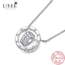 Hot Sale Fashion Round & Love Heart Pendant Necklace 925 Sterling Silver Rose Gold Rhinestone Necklaces For Women Jewelry Gift banbu new arrival 925 sterling silver necklaces jewelry polishing process plate gold necklace women hot sale best gift for girls