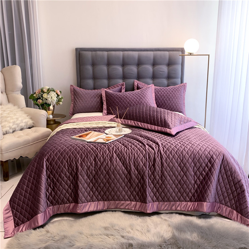 New Luxury Purple Yellow Gray Green White Soft Silk Velvet Fleece Quilted Bedspread Bed Cover Bed Sheet Blanket Pillowcases 3pcs