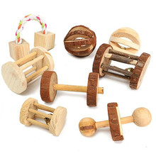 Cute Natural Wooden Rabbits Toys Pine Dumbells Unicycle Bell Roller Chew Toys for Guinea Pigs Rat Small Pet Molars Supplies