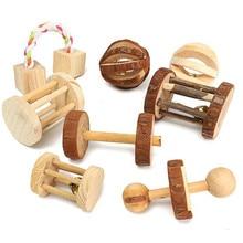 Leuke Natuurlijke Houten Konijnen Speelgoed Grenen Dumbells Eenwieler Bell Roller Kauwen Speelgoed voor Cavia Rat Kleine Huisdier Molars Levert
