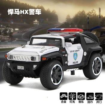 Coche de policía Hummer HX de alta simulación para niños, modelo de coche de aleación con sonido y luz, 1:32