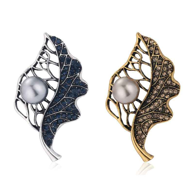 New Retro Leaf-shaped Brooch Charming Women Lady Scarf Dress Jewelry Pin Decoration Accessories Gifts U50C