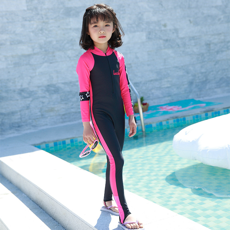 2018 New Style Hot Sales One-piece One-Piece Small Stand Collar Front Zipper Foot Pants Star Pattern Girls KID'S Swimwear