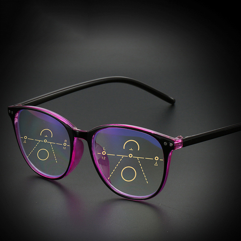 Anti-blue Light Progressive Multifocal Reading Glasses Women&Men Classic Oversize Frame Presbyopic Glasses With +1.0to+4.0