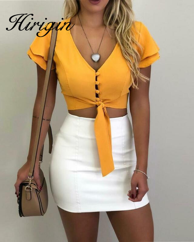 2019 Casual Fashion Womens Ruffled Button-Down Solid Deep V-neck Shirt Top Shirt Casual Blouse Solid Color