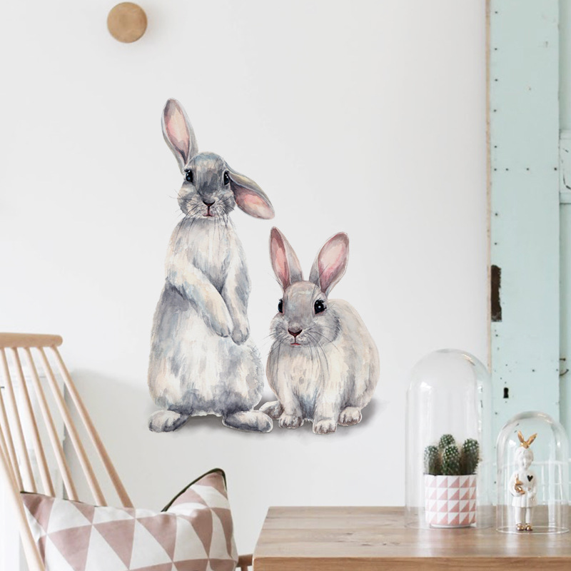 Two cute rabbits Wall sticker Children's kids room home decoration removable wallpaper living room bedroom mural bunny stickers