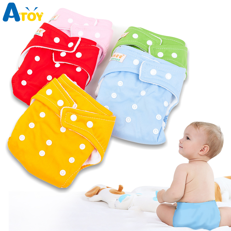 5 Pieces /lot Adjustable Reusable Baby Boys Girls Cloth Diapers Diaper Insert  Soft Covers Infant Washable Nappies Diapering