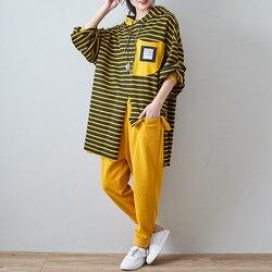 Baumwolle 2 Stück Set Frauen Outfit Trainingsanzug Gestreiften Fitnessset Plus Größe Große Lange Sweatershirt Hosen Anzüge Baumwolle AA273S30