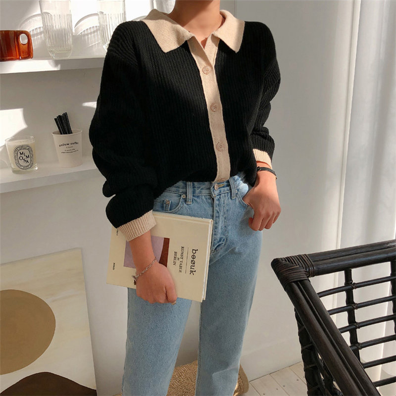 HziriP Loose Regular Color-Hit High Street Unique 2019 Autumn Cardigans Brief High Quality Casual All Match Knitted Sweaters(China)