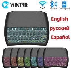 Podświetlana klawiatura Bluetooth 2.4G bezprzewodowa klawiatura angielski rosyjski hiszpański D8 Plus Super Air Mouse z touchpadem dla Smart TV BOX