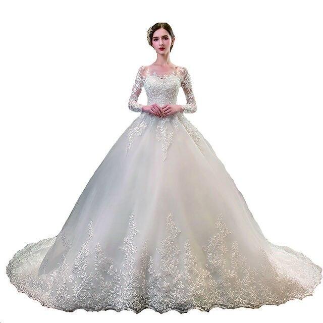 New Romantic Sweet Elegant Luxury Long Lace Princess Wedding Dress With Sleeves Appliques Celebrity Bride Gown Vestidos De Noiva 4