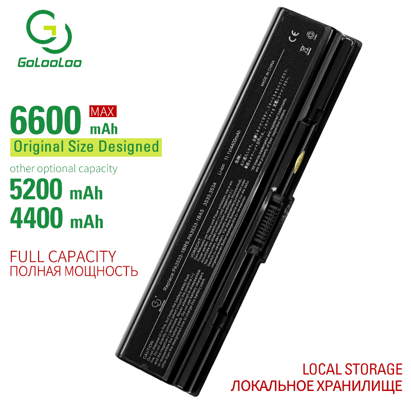 Golooloo 6 cells laptop battery for <font><b>Toshiba</b></font> Satellite L450D <font><b>L500</b></font> L500D L505 L505D L550 L550D L555 L555D M200 M205 M206 Pro A210 image