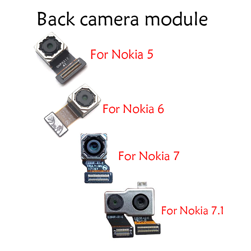 New For Nokia 5 6 7 6.1 7.1 / 5.1 Plus X5 / 6.1 Plus X6 Back Rear Camera Module Flex Cable +Front Facing Camera Replacement