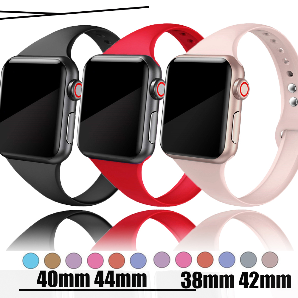 Silm Strap For Apple Watch 5 Band 44mm 40mm IWatch Band 38mm 42mm Sport Silicone Bracelet Watchband For Apple Watch 4/3/2/1 38mm