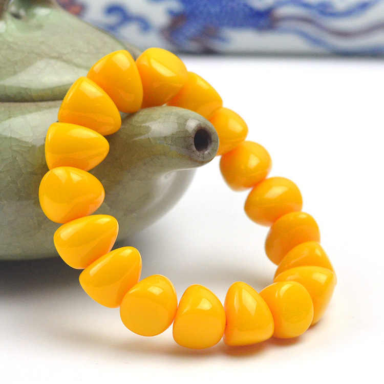 Fashion Cina 15*13 Mm Kuning Lilin Lebah Manik-manik Amber Elastis Gelang Pria Wanita Mala Meditasi Perhiasan Keberuntungan Hadiah Baru