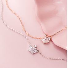 Fashion 925 Sterling Silver Shiny Cubic Zirconia Crown Pendant Rose Gold Color Plated Link Chain Statement CZ Necklace for Women(China)
