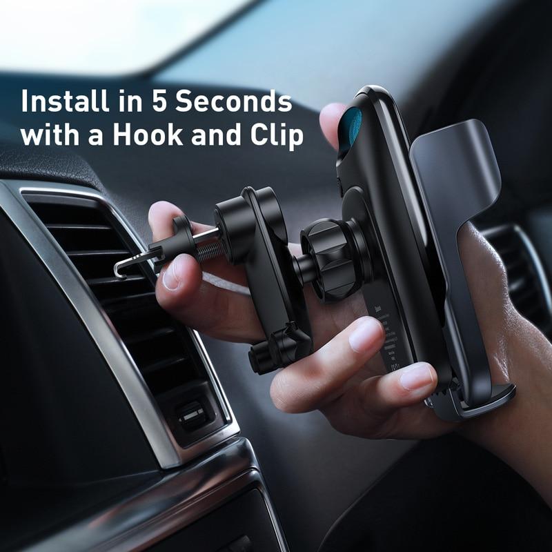 Baseus titular do telefone do carro 15w carregador sem fio para o iphone carga rápida 3.0 ventilação de ar montar titular do carro sem fio de carregamento titular 6