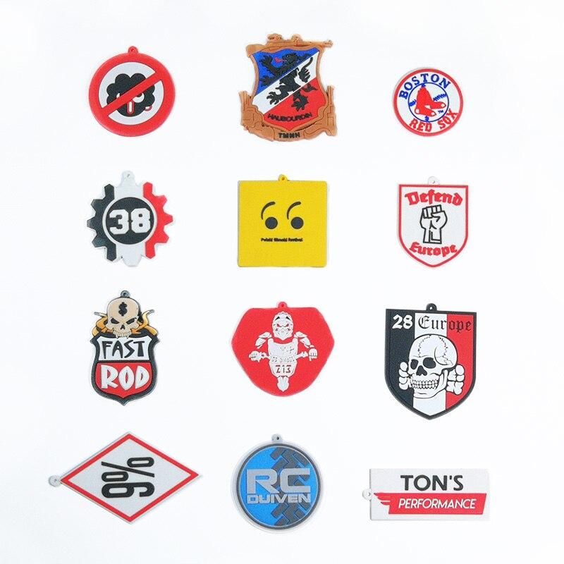 14pcs 2D PVC Shoe Charms Car Logo