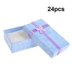 24 lotes Por Atacado de Jóias Anel Brinco Relógio Pequeno Grande Caixa de Presente 5*8*2.5 CENTÍMETROS Nova caixa de Presente de Papelão caixas