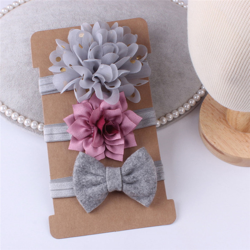 NEW 3pcs//Set Newborn Headband Elastic Floral Baby Girls Hairband Bowknot Turban