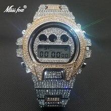 MISSFOX Diamond Decorate Men Wristwatch Luxury Classic Designer Rose Gold Quartz Watches hip hop iced out Tonneau Digital Clock