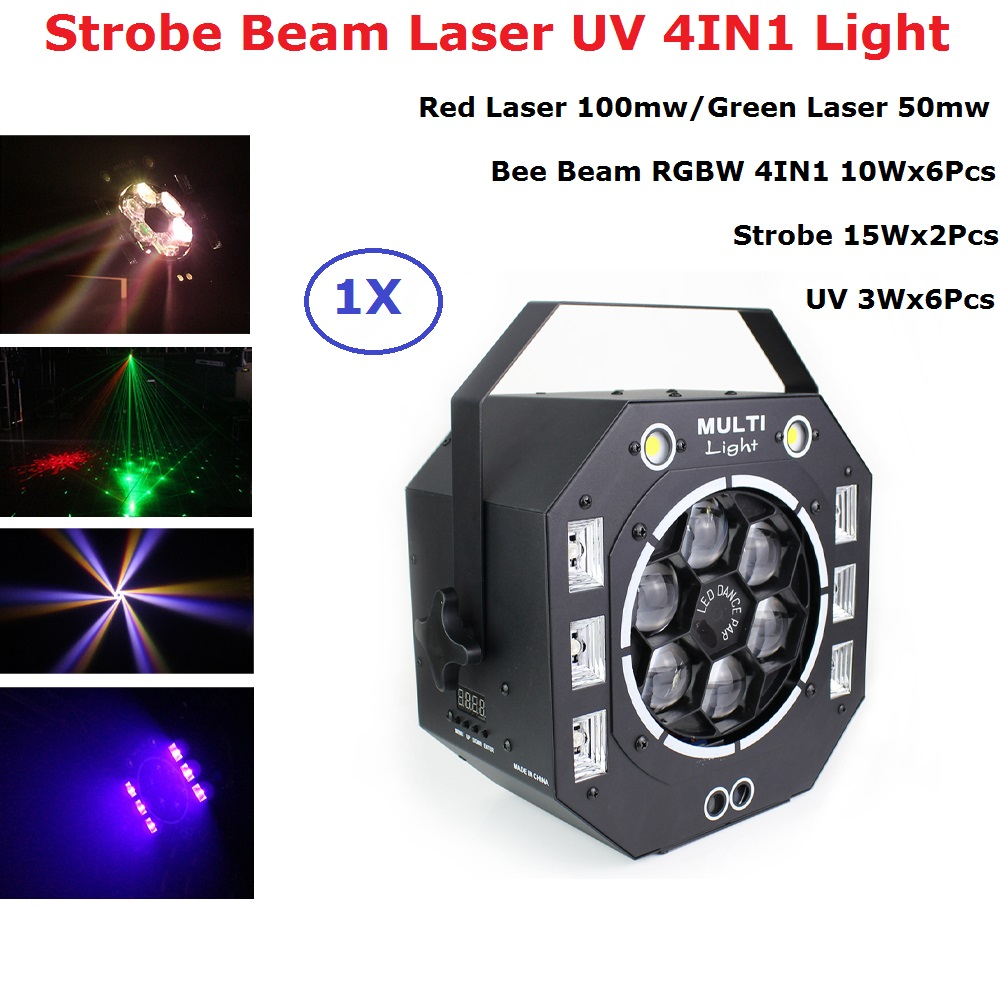 LED Laser Strobe Beam UV 4IN1 Light DMX512 Stage Effect Lights Good For DJ Disco Birthday Party Wedding Decoration Clubs And Bar