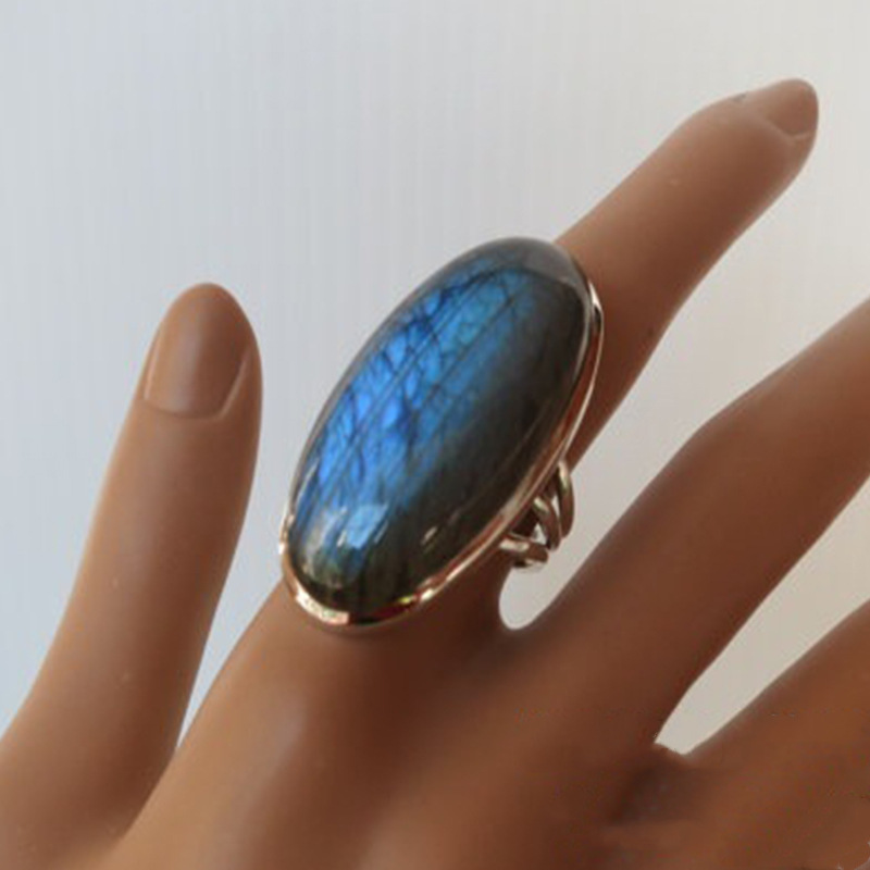 2020 New Bohemian Retro Exaggerated Metal Big Blue Natural Zircon Ring For Women Party Jewelry christmas gift