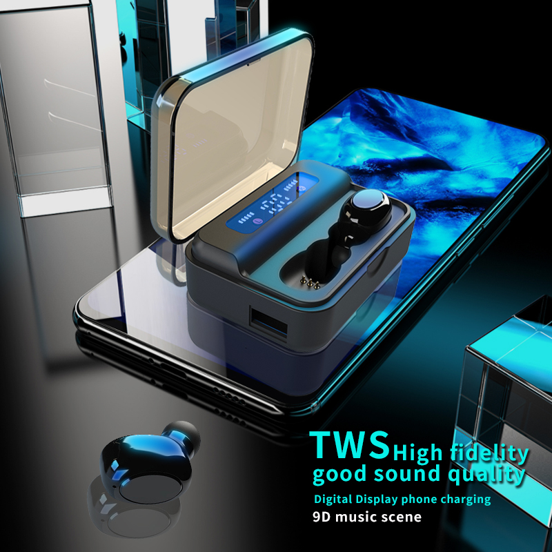 TWS Bluetooth Earphones 2200mAh LED Display Charging Box Rich Bass Wireless Headphones Sports Earbuds Headsets With Microphone