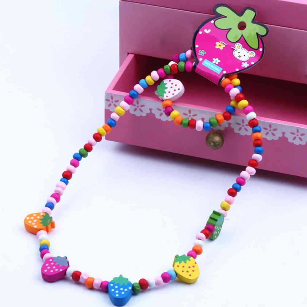 2Pcs/Set Wooden Strawberry Bead Elastic Bracelet Necklace Children Jewelry Gift New Chic