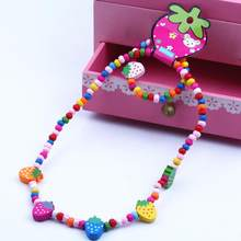 2Pcs/Set Wooden Strawberry Bead Elastic Bracelet Necklace Children Jewelry Gift New Chic(China)