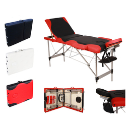【US Warehouse】3 Sections Folding Aluminum Tube SPA Bodybuilding Massage Table Black with Red Edge