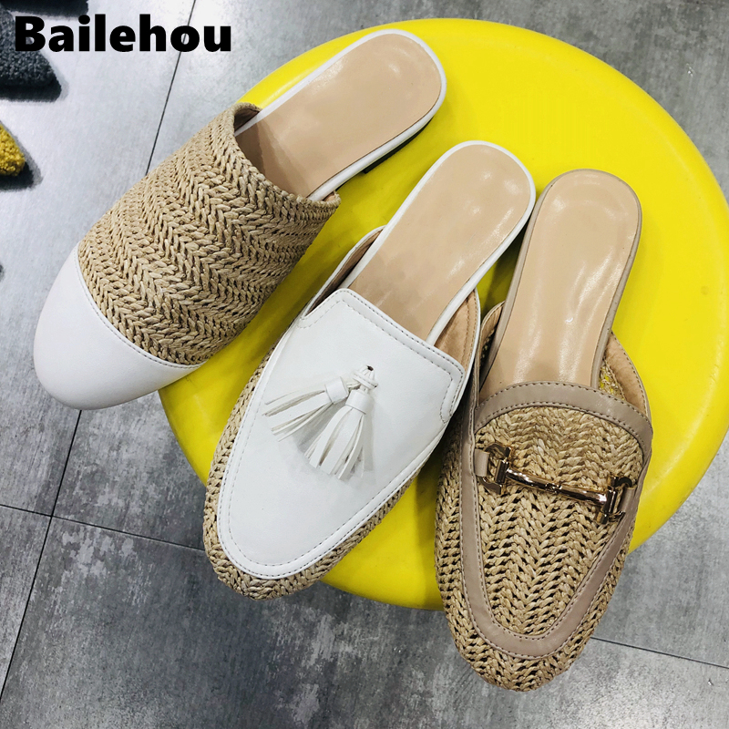 Bailehou Women Mules Slipper Summer Weave Mules Shoes Women Slippers Outside Beach Flat Slides Round Toe Half Slipper Shoes