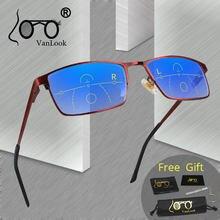 VANLOOK-gafas de lectura multifocales graduales para hombre y mujer, lentes transparentes y ajustables en color rojo + 1,0 1,5 2 2,5 3 3,5