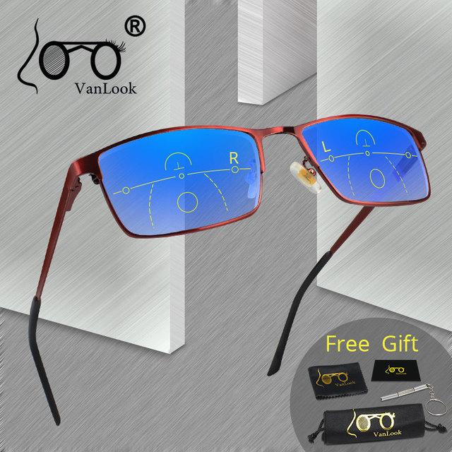 VANLOOK Progressive Multifocal Reading Glasses Computer For Men Women Sight Clear Adjustable Eyeglasses Red +1.0 1.5 2 2.5 3 3.5