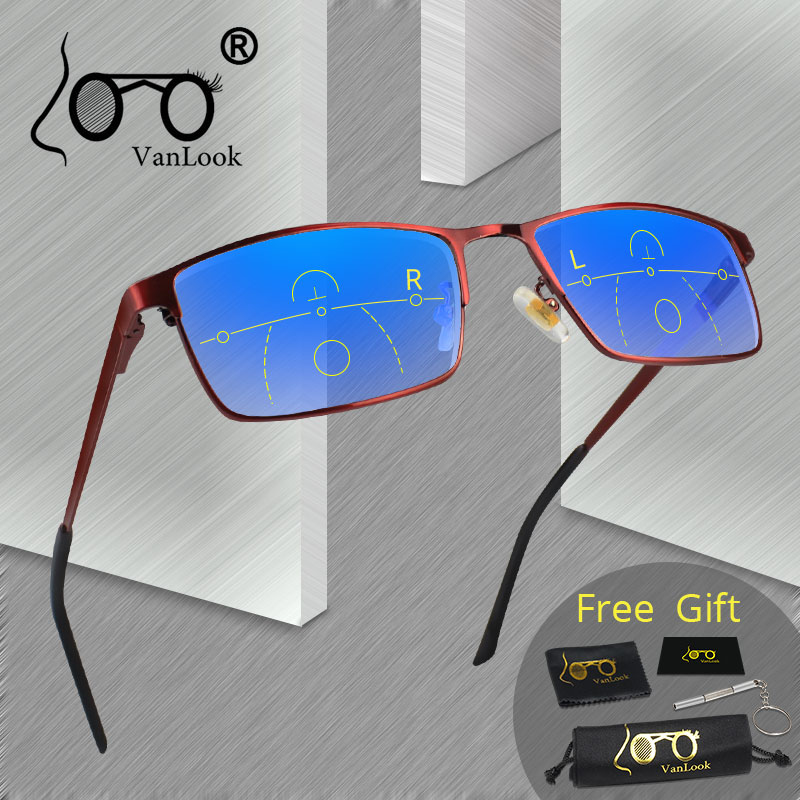 VANLOOK Progressive Multifocal Reading <font><b>Glasses</b></font> Computer For Men Women Sight Clear Adjustable Eyeglasses Red +<font><b>1.0</b></font> 1.5 2 2.5 3 3.5 image