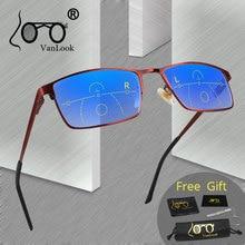 VANLOOK прогрессивные многофокальные очки для чтения для мужчин и женщин, мужские прозрачные Регулируемые очки для зрения, красные + 1,0 1,5 2 2,5 3 3,5