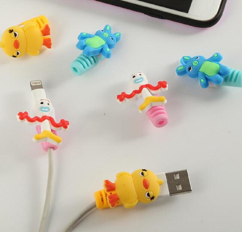 Protector Telephone Toy-Story Usb-Charger Ducky Lightyear Bunny Forky Cute Figures Andriod-Cable