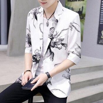 Teen summer 2020 men's suit sleeve printing Slim thin section tide leisure suit