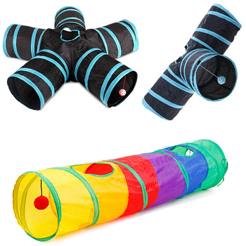 Kitten Tunnel Of Fun - 5 Holes - Foldable - Your Cats Will Love It!  1